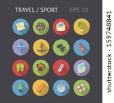 flat icons for travel and sport....