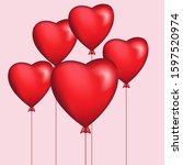 love love shaped balloons ... | Shutterstock .eps vector #1597520974