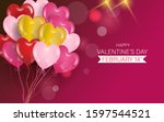 happy valentines day with love... | Shutterstock .eps vector #1597544521