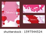 happy valentines day with paper ... | Shutterstock .eps vector #1597544524