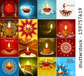 vector beautiful diwali diya... | Shutterstock .eps vector #159757619