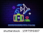 neon travel sign. suitcase ... | Shutterstock .eps vector #1597593307
