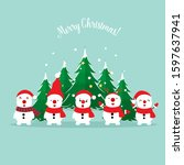 snow man. christmas background. ...   Shutterstock .eps vector #1597637941