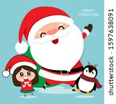 santa claus  penguin and cute... | Shutterstock .eps vector #1597638091
