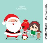 christmas greeting card with... | Shutterstock .eps vector #1597638307