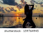 silhouette of a model on a... | Shutterstock . vector #159764945