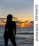 silhouette of a model on a... | Shutterstock . vector #159764975