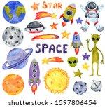 space clipart set  hand drawn... | Shutterstock . vector #1597806454