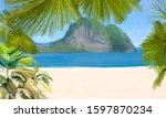 ocean view. wide brush painting.... | Shutterstock . vector #1597870234