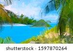 ocean view. wide brush painting.... | Shutterstock . vector #1597870264