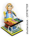 antique tin toy  wind up monkey ... | Shutterstock . vector #159787709