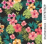 seamless tropical flower vector ... | Shutterstock .eps vector #159787829