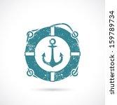 Anchor and lifebelt symbol - vector illustration