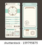 Vintage style Boarding Pass Ticket Wedding Invitation Template Vector | Shutterstock vector #159795875