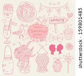 romantic vector set in pink... | Shutterstock .eps vector #159801485