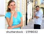 a woman and her boyfriend.... | Shutterstock . vector #1598032