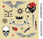 set of tattoo elements. vector... | Shutterstock .eps vector #1598045911