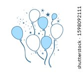 party balloons and stars icon....