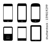 icons set of electronic devices. smartphones, tablets. vector eps8