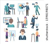 collection of scenes at office. ...   Shutterstock .eps vector #1598198071