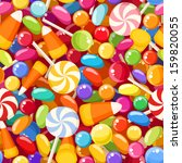 Seamless background with various candies. Vector illustration. - stock vector