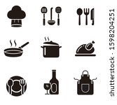 set of cooking related black...   Shutterstock .eps vector #1598204251