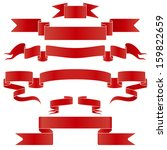 set of red and silver  ribbons... | Shutterstock . vector #159822659