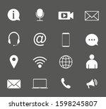 contact icon set. vector... | Shutterstock .eps vector #1598245807