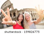 travel tourist girl friends by... | Shutterstock . vector #159826775