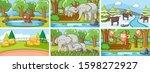 background scenes of animals in ...   Shutterstock .eps vector #1598272927