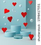 valentines hearts with blue... | Shutterstock . vector #1598417551