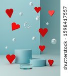 valentines hearts with blue... | Shutterstock . vector #1598417557