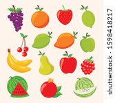 fruits vector set  with flat... | Shutterstock .eps vector #1598418217