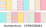 scrapbook seamless pattern.... | Shutterstock .eps vector #1598428681