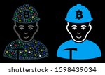 glowing mesh bitcoin miner icon ... | Shutterstock .eps vector #1598439034
