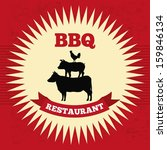 bbq design over red  background ... | Shutterstock .eps vector #159846134
