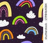 seamless pattern with cartoon...   Shutterstock .eps vector #1598464084