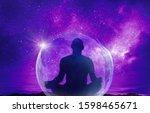 yoga cosmic space meditation... | Shutterstock . vector #1598465671