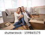 young adults moving in new home | Shutterstock . vector #159865175