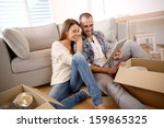 young adults using tablet as... | Shutterstock . vector #159865325