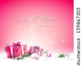 Pink Christmas Greeting Card...