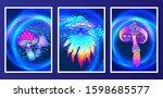 retro futurism. vintage 80s or... | Shutterstock .eps vector #1598685577