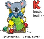 koala bear knitter. profession... | Shutterstock .eps vector #1598758954