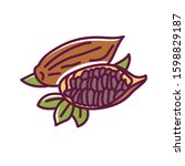 cacao pod color line icon. raw...