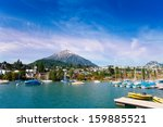 spiez village and alps snow... | Shutterstock . vector #159885521