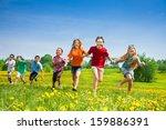 group of seven happy running in ... | Shutterstock . vector #159886391