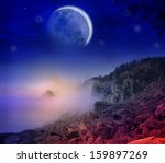 fantastic night foggy mountains ... | Shutterstock . vector #159897269