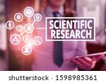 Small photo of Word writing text Scientific Research. Business concept for methodical study to prove or disprove a hypothesis.