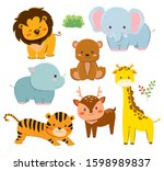 set of cute cartoon animals ... | Shutterstock .eps vector #1598989837