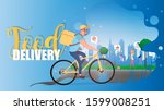 food delivery banner. a cyclist ... | Shutterstock . vector #1599008251
